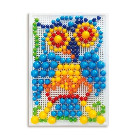 Набор для занятий мозаикой Quercetti (фишки 10/15/20 мм (280 шт.) + доска 22×16) Превью 2
